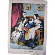 Currier & Ives Print The Happy Home