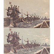 Victorian Advertising Trade Card w/Santa and Reindeer (2 Available)