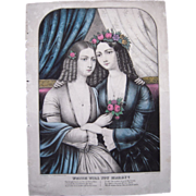 c1850 Hand Colored Kellogg Lithograph Which Will You Marry