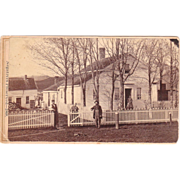 1868 Outdoor CDV Photo of Farm, Family and Cat (New York State)