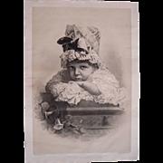 Large Victorian Color Lithograph Little Sunshine