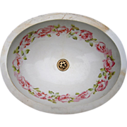 Antique Victorian Era Porcelain Sink Bowl w / Rose Pattern - Red Tag Sale Item