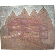 Early to Mid 1900s Wood Carving of Knox Bridge Valley Forge, PA