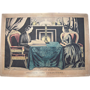 Hand Colored Currier Print Reading The Scriptures