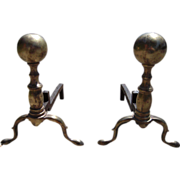 Pair Mid 20th Century Solid Brass Andirons