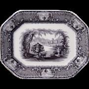 "Large (16"") Antique P and W Co Black Transferware Platter ""Washington Vase"""