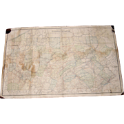 1895 Wall Map Railroad Map of Pennsylvania
