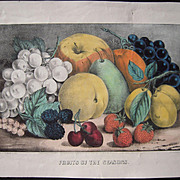 1870 Currier & Ives Fruits Of The Seasons Hand Colored Lithograph