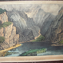 Mid 1800s Currier & Ives Gap of Dunloe Hand Colored Lithograph
