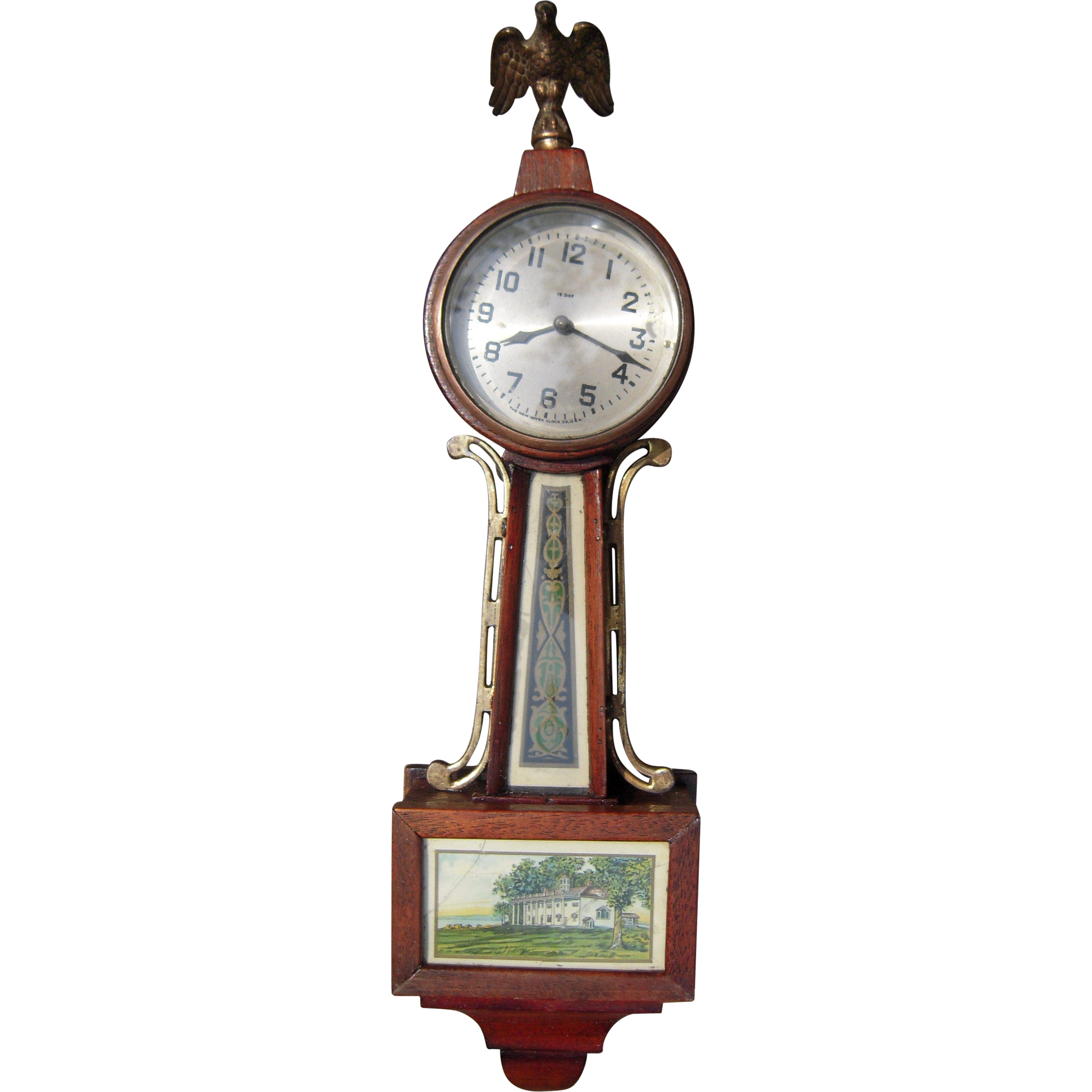 C1920s Small New Haven Clock Co Banjo Clock From