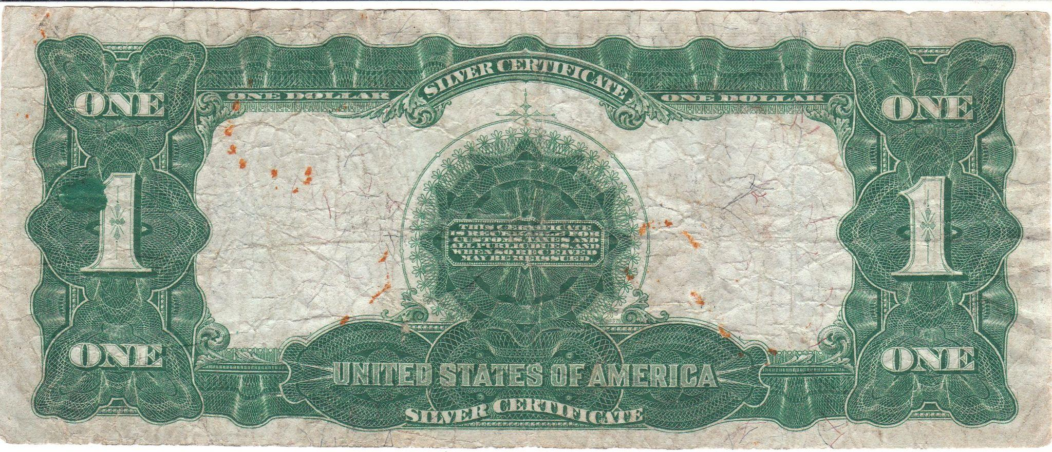 1899 U S 1 Eagle Silver Certificate From