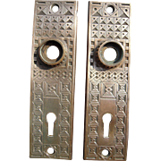Pair Ornate Solid Brass Victorian Doorplates