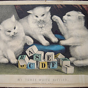 c1850s Currier & Ives Kitties Learning Their ABC's Hand Colored Lithograph