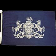 "c1950 PA Wool State Flag 3' x 5"""