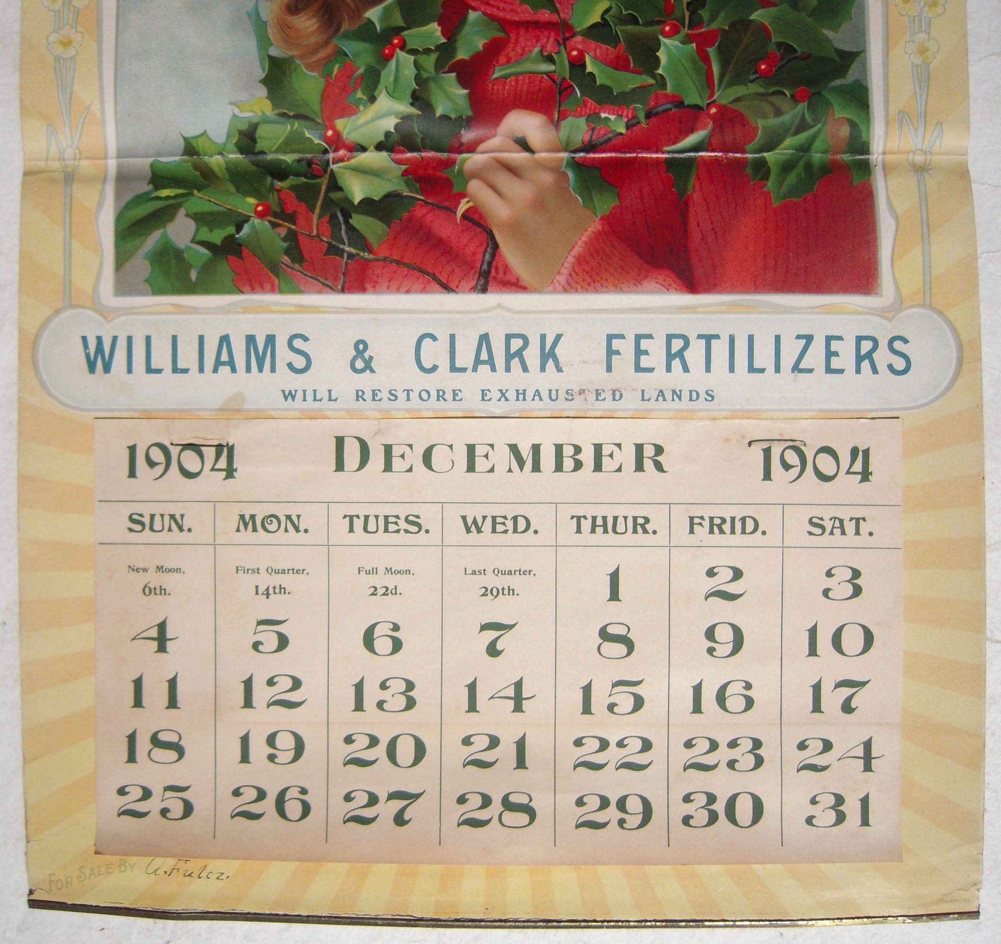Large Full Color 1904 Fertilizer Advertising Calendar From