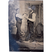 1/6 Plate Tintype of Two Victorian Men Ready for Fight