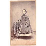 1860s CDV Photo of Girl with Umbrella