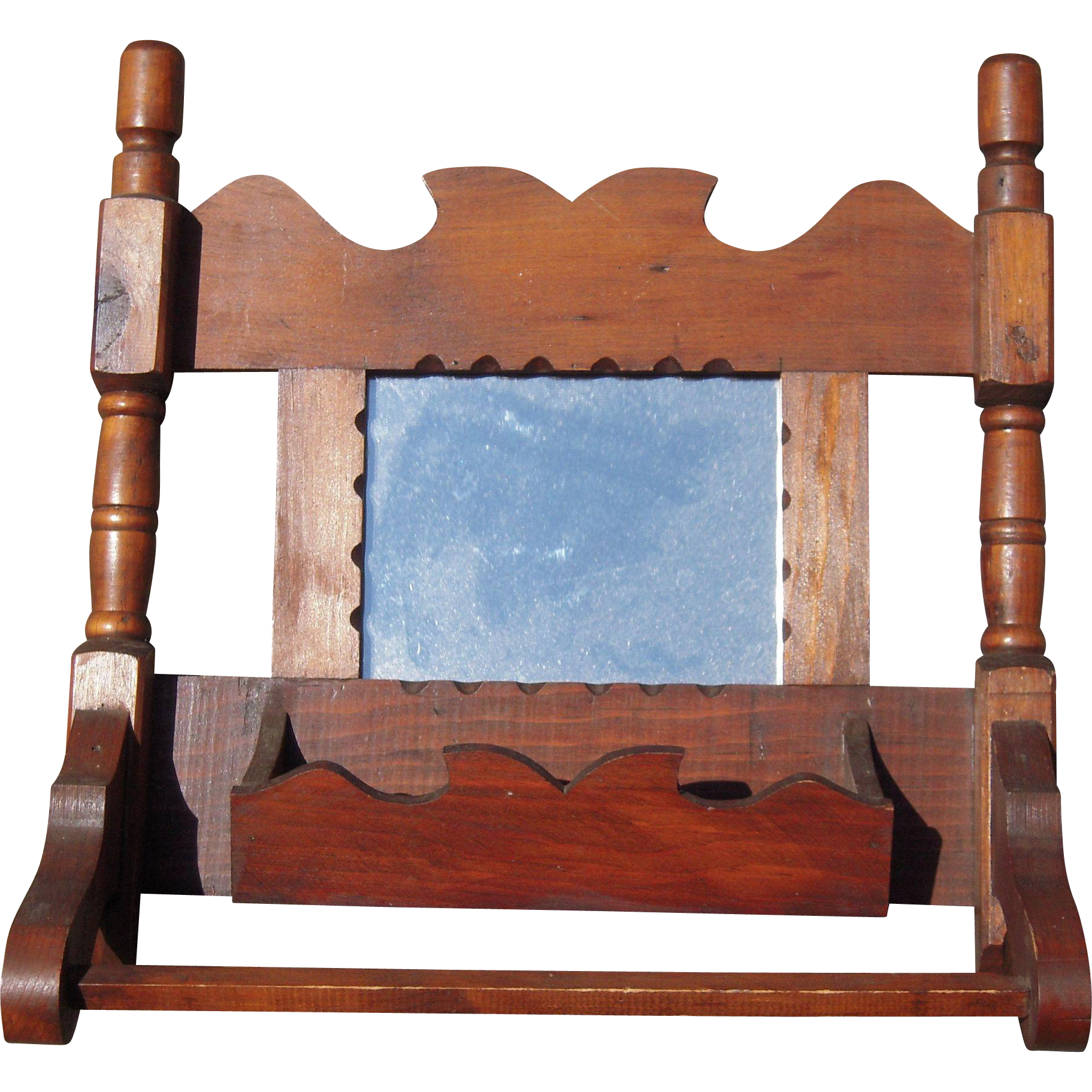 C1950s Handmade Wood Comb Holder Mirror From