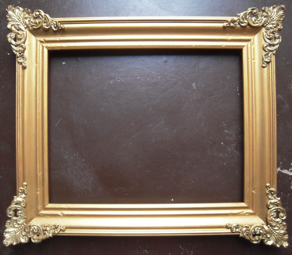 gold victorian picture frame w brass corners 8 x 10 from