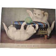 Hand Colored Currier and Ives Print My Little White Kitties Playing Ball