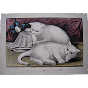 c1850 Currier & Ives Hand Colored Lithograph My Little White Kitties