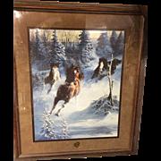 Mustang Thunder Print Double Signed, Wild Mustangs Running Winter Scene, Artist Chuck DeHaan