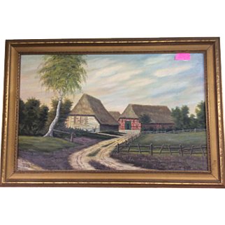 Original Painting Dutch Farm Scene, 1953 Signed by Artist