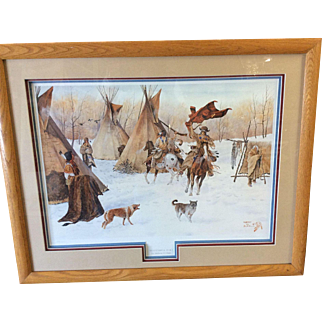 SUCESSFUL RAID Art Lithograph Native American Signed Numbered, Professionally Matted and Framed