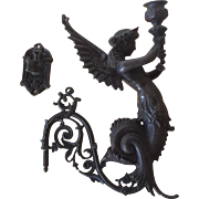 Figural Bronze Winged Mermaid Candle Sconce
