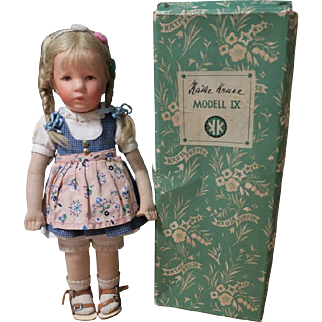 "Kathe Kruse Little Girl Doll, 14"", With Original Box"