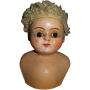 Early Antique Wooden Doll Head, Carved Wood Covered With Composition