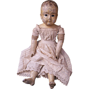 """Early Antique German Doll Sonneberger Taufling, Wood And Composition, Biedermeier, 20"""""""