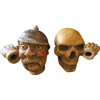 Hand-carved Hand or Glove Puppet Heads Death and Constable, for a Punch and Judy Ensemble