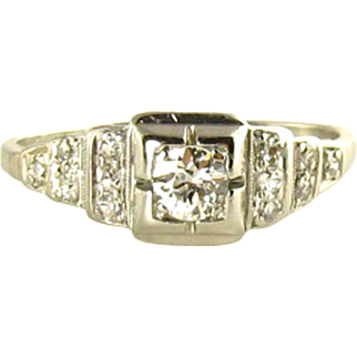 Art Deco Platinum Ring with Plenty of Diamonds