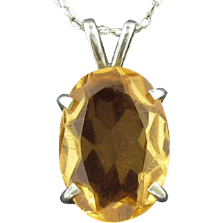 Golden Citrine Necklace in 77-90% Silver Basket Setting