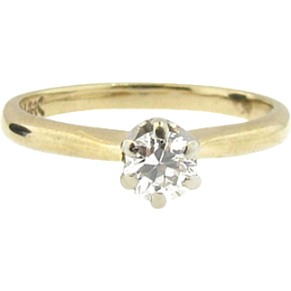 Old European Cut Diamond VS2 Engagement Ring in 14K Yellow Gold
