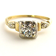 Vintage Wedding Ring: Appraised VVS Diamond Ring from 1950's in 14K Gold