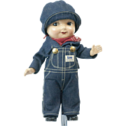 Early Composition Buddy Lee Jeans Advertising Doll with Overalls and Original Hat MINT