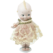 """1920s German Bisque Rose O'Neill Large Straight Leg Kewpie in a Dress 9"""""""