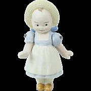"""1910s German Hertwig All Bisque Molded Dressed Kewpie Doll 4 3/8"""""""