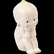 "1920s German Bisque Rose O'Neill ""Thinker"" Sitting Kewpie Figurine 4"""