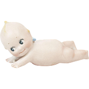 """1920s German Bisque Rose O'Neill Chubby Kewpie Lounging on Belly 4"""""""