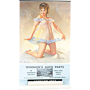 1962 Gil Elvgren Pin-up Girl Calendar Winnick's Auto Parts 35""