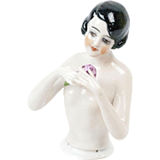 """1920s German Bisque Beautiful Flapper Half Doll with Bouquet 4 1/4"""""""