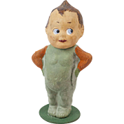 1910s German Poured Papier Maché Candy Container Veggie Boy with Kewpie-Like Head 4 1/2""
