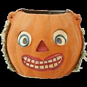 "1920s German Papier Maché Halloween Jack-O-Lantern with Crepe Paper Fringe 4 1/2"""