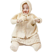 """1910s German Bisque Headed Heubach Christmas Winter Baby Musical Squeeze Toy 9 1/2"""""""