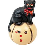 "RARE 1920s American Viscaloid Celluloid Halloween Black Cat on a Pumpkin Roly Poly 3"""