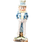 """1910s German China Bisque Brownie Uncle Sam Candlestick Holder 9"""""""