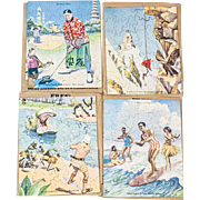 RARE 1930s Comic Golfing Around the World Jigsaw Puzzle Set of 4 with Surfing Hula Girls